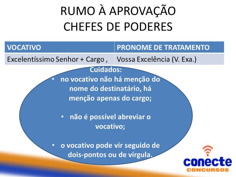 RUMO À APROVAÇÃO CHEFES DE PODERES VOCATIVOPRONOME DE TRATAMENTO Excelentíssimo Senhor + Cargo,Vossa Excelência (V.