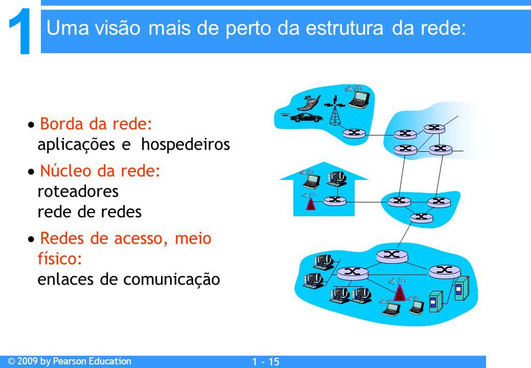 1 © 2009 by Pearson Education 1 - 15  Borda da rede: aplicações e hospedeiros  Núcleo da rede: roteadores rede de redes  Redes de acesso, meio físico: enlaces de comunicação Uma visão mais de perto da estrutura da rede: