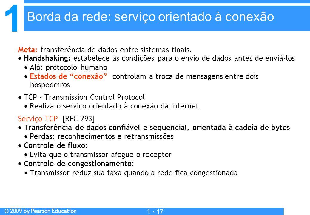 1 © 2009 by Pearson Education 1 - 17 Meta: transferência de dados entre sistemas finais.  Handshaking: estabelece as condições para o envio de dados