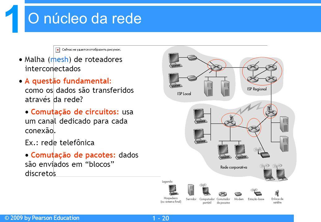 1 © 2009 by Pearson Education 1 - 20  Malha (mesh) de roteadores interconectados  A questão fundamental: como os dados são transferidos através da r
