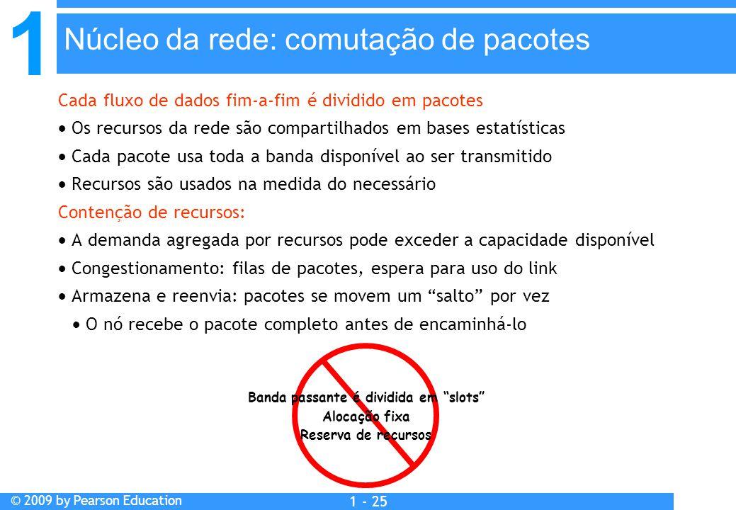 1 © 2009 by Pearson Education 1 - 25 Cada fluxo de dados fim-a-fim é dividido em pacotes  Os recursos da rede são compartilhados em bases estatística