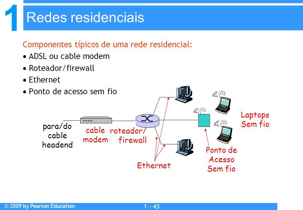 1 © 2009 by Pearson Education 1 - 43 Componentes típicos de uma rede residencial:  ADSL ou cable modem  Roteador/firewall  Ethernet  Ponto de acesso sem fio Redes residenciais Ponto de Acesso Sem fio Laptops Sem fio roteador/ firewall cable modem para/do cable headend Ethernet
