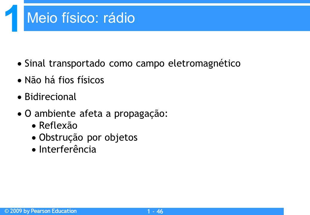 1 © 2009 by Pearson Education 1 - 46  Sinal transportado como campo eletromagnético  Não há fios físicos  Bidirecional  O ambiente afeta a propagação:  Reflexão  Obstrução por objetos  Interferência Meio físico: rádio