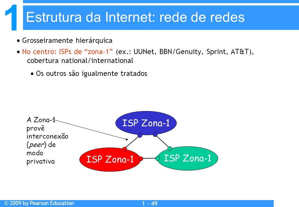 1 © 2009 by Pearson Education 1 - 49  Grosseiramente hierárquica  No centro: ISPs de zona-1 (ex.: UUNet, BBN/Genuity, Sprint, AT&T), cobertura national/international  Os outros são igualmente tratados ISP Zona-1 A Zona-1 provê interconexão (peer) de modo privativa Estrutura da Internet: rede de redes