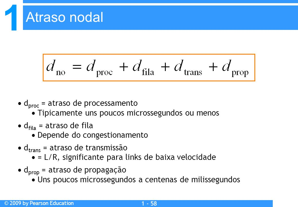 1 © 2009 by Pearson Education 1 - 58  d proc = atraso de processamento  Tipicamente uns poucos microssegundos ou menos  d fila = atraso de fila  D