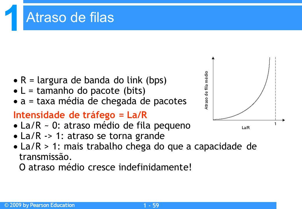 1 © 2009 by Pearson Education 1 - 59  R = largura de banda do link (bps)  L = tamanho do pacote (bits)  a = taxa média de chegada de pacotes Intensidade de tráfego = La/R  La/R ~ 0: atraso médio de fila pequeno  La/R -> 1: atraso se torna grande  La/R > 1: mais trabalho chega do que a capacidade de transmissão.
