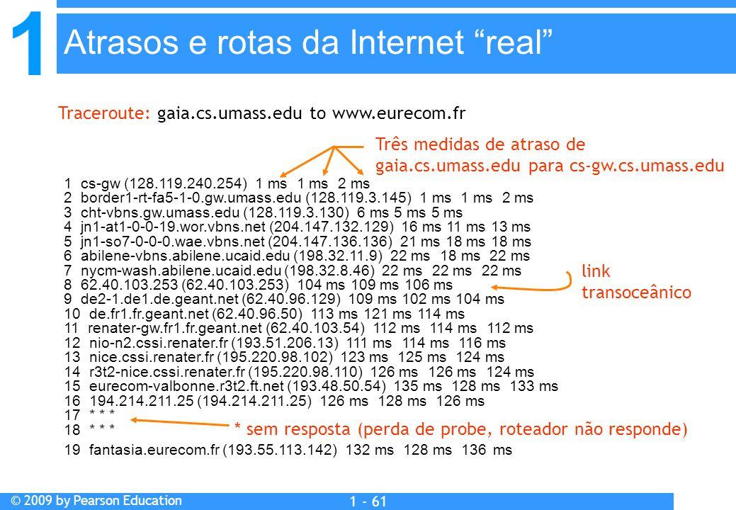 1 © 2009 by Pearson Education 1 - 61 1 cs-gw (128.119.240.254) 1 ms 1 ms 2 ms 2 border1-rt-fa5-1-0.gw.umass.edu (128.119.3.145) 1 ms 1 ms 2 ms 3 cht-vbns.gw.umass.edu (128.119.3.130) 6 ms 5 ms 5 ms 4 jn1-at1-0-0-19.wor.vbns.net (204.147.132.129) 16 ms 11 ms 13 ms 5 jn1-so7-0-0-0.wae.vbns.net (204.147.136.136) 21 ms 18 ms 18 ms 6 abilene-vbns.abilene.ucaid.edu (198.32.11.9) 22 ms 18 ms 22 ms 7 nycm-wash.abilene.ucaid.edu (198.32.8.46) 22 ms 22 ms 22 ms 8 62.40.103.253 (62.40.103.253) 104 ms 109 ms 106 ms 9 de2-1.de1.de.geant.net (62.40.96.129) 109 ms 102 ms 104 ms 10 de.fr1.fr.geant.net (62.40.96.50) 113 ms 121 ms 114 ms 11 renater-gw.fr1.fr.geant.net (62.40.103.54) 112 ms 114 ms 112 ms 12 nio-n2.cssi.renater.fr (193.51.206.13) 111 ms 114 ms 116 ms 13 nice.cssi.renater.fr (195.220.98.102) 123 ms 125 ms 124 ms 14 r3t2-nice.cssi.renater.fr (195.220.98.110) 126 ms 126 ms 124 ms 15 eurecom-valbonne.r3t2.ft.net (193.48.50.54) 135 ms 128 ms 133 ms 16 194.214.211.25 (194.214.211.25) 126 ms 128 ms 126 ms 17 * * * 18 * * * 19 fantasia.eurecom.fr (193.55.113.142) 132 ms 128 ms 136 ms Traceroute: gaia.cs.umass.edu to www.eurecom.fr Três medidas de atraso de gaia.cs.umass.edu para cs-gw.cs.umass.edu * sem resposta (perda de probe, roteador não responde) link transoceânico Atrasos e rotas da Internet real
