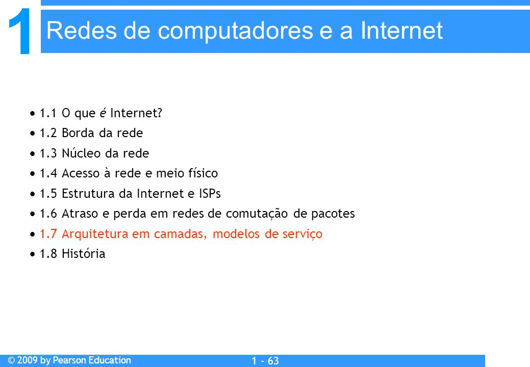1 © 2009 by Pearson Education 1 - 63  1.1 O que é Internet.