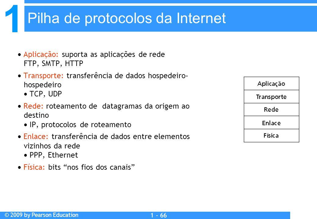 1 © 2009 by Pearson Education 1 - 66  Aplicação: suporta as aplicações de rede FTP, SMTP, HTTP  Transporte: transferência de dados hospedeiro- hospedeiro  TCP, UDP  Rede: roteamento de datagramas da origem ao destino  IP, protocolos de roteamento  Enlace: transferência de dados entre elementos vizinhos da rede  PPP, Ethernet  Física: bits nos fios dos canais Pilha de protocolos da Internet