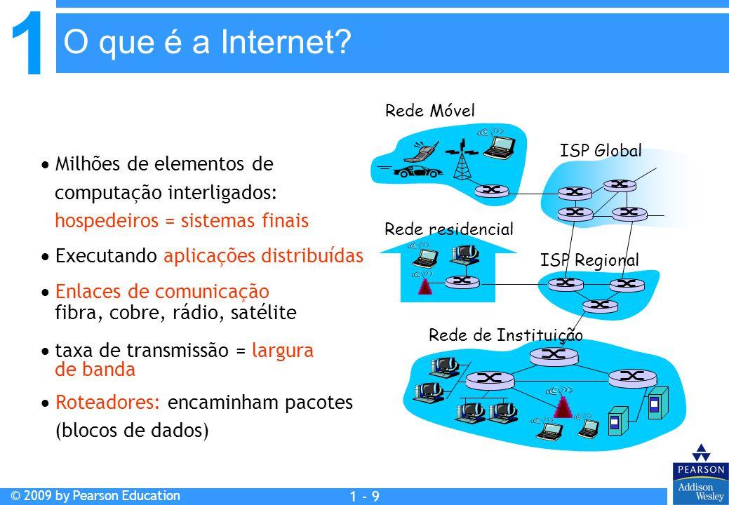 1 © 2009 by Pearson Education 1 - 9  Milhões de elementos de computação interligados: hospedeiros = sistemas finais  Executando aplicações distribuí