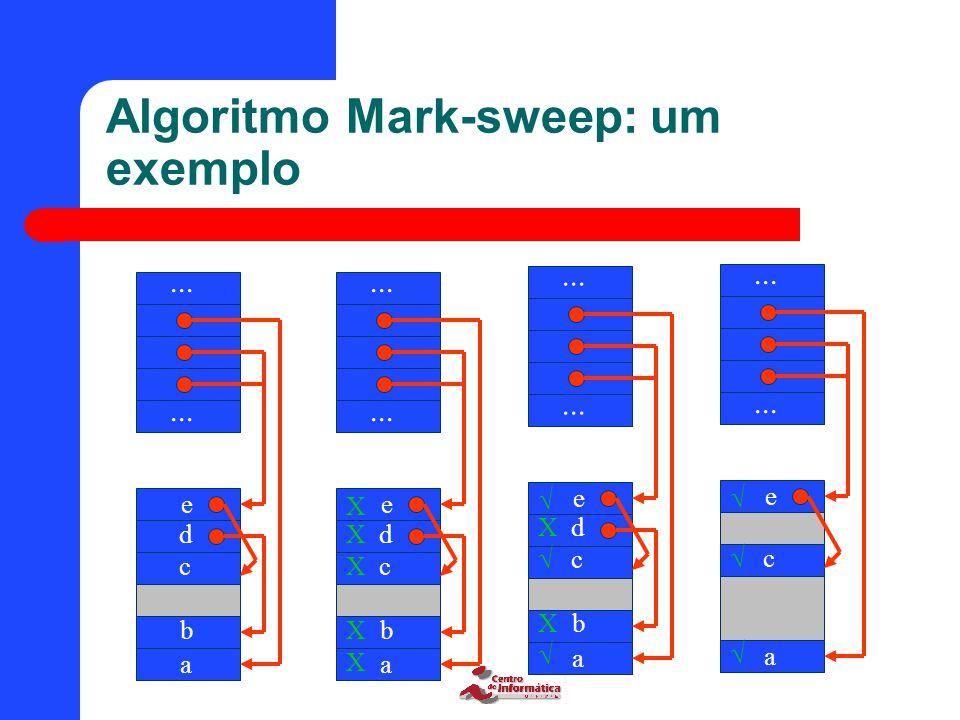 Algoritmo Mark-sweep: um exemplo... a b c d e a b c d e X X X X X a b c d e  X  X  a c e   