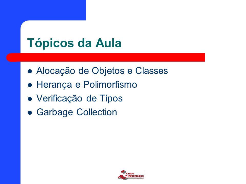 Tópicos da Aula Alocação de Objetos e Classes Herança e Polimorfismo Verificação de Tipos Garbage Collection