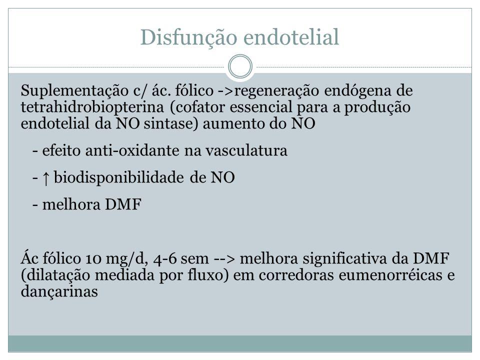 Disfunção endotelial Suplementação c/ ác.