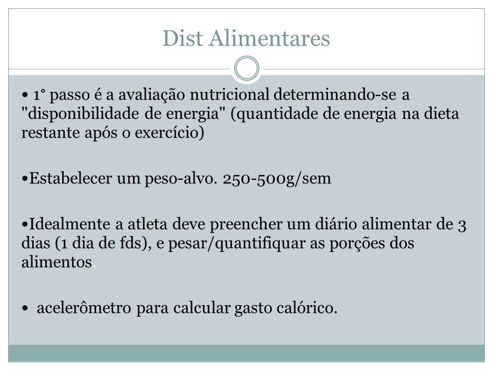 Dist Alimentares 1° passo é a avaliação nutricional determinando-se a disponibilidade de energia (quantidade de energia na dieta restante após o exercício) Estabelecer um peso-alvo.