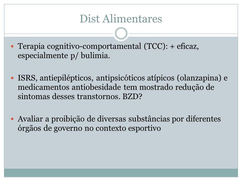 Dist Alimentares Terapia cognitivo-comportamental (TCC): + eficaz, especialmente p/ bulimia.