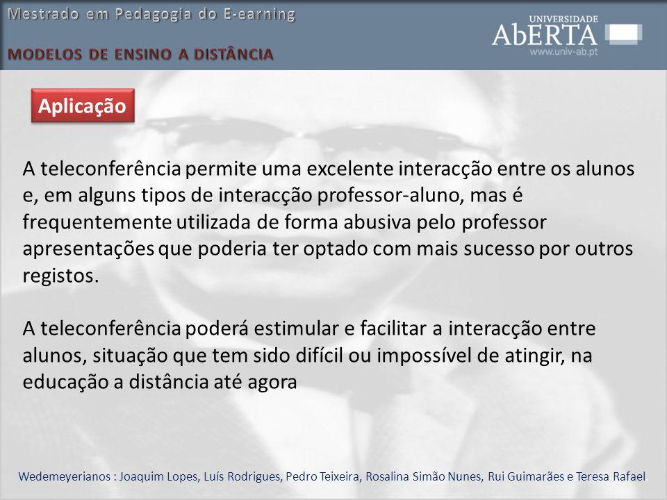 Wedemeyerianos : Joaquim Lopes, Luís Rodrigues, Pedro Teixeira, Rosalina Simão Nunes, Rui Guimarães e Teresa Rafael. A teleconferência permite uma exc