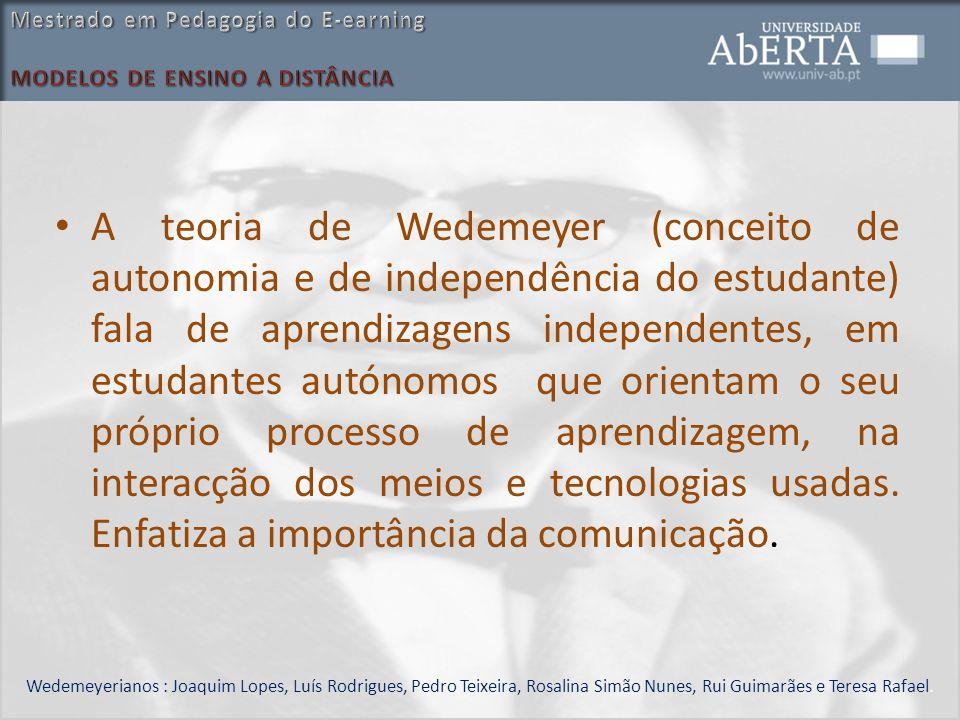 A teoria de Wedemeyer (conceito de autonomia e de independência do estudante) fala de aprendizagens independentes, em estudantes autónomos que orienta