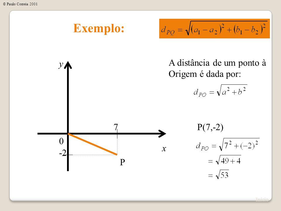 Exemplo: x y 0 P(7,-2)7 -2 P A distância de um ponto à Origem é dada por: Início © Paulo Correia 2001
