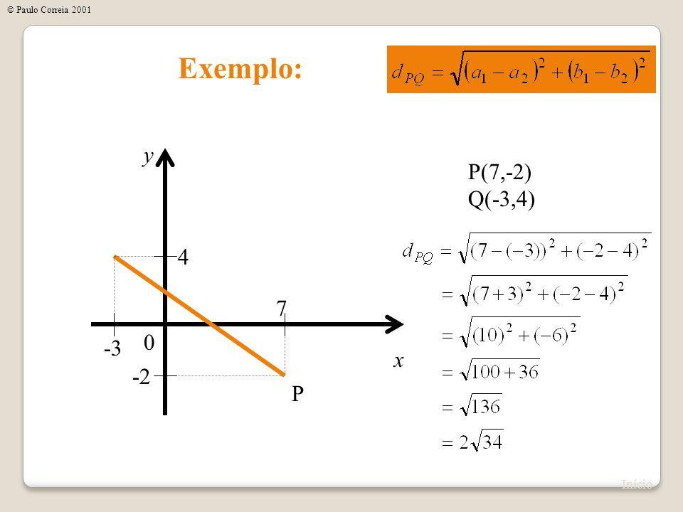 Exemplo: x y 0 P(7,-2) Q(-3,4) 7 -2 P -3 4 Início © Paulo Correia 2001