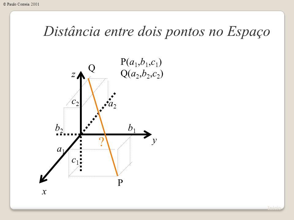 x Distância entre dois pontos no Espaço y z P(a 1,b 1,c 1 ) Q(a 2,b 2,c 2 ) P Q a1a1 b1b1 c1c1 a2a2 b2b2 c2c2 ? Início © Paulo Correia 2001