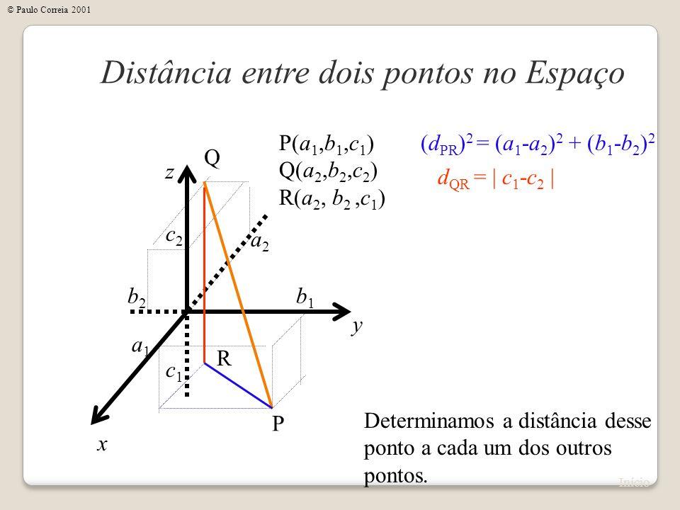 x Distância entre dois pontos no Espaço y z P(a 1,b 1,c 1 ) Q(a 2,b 2,c 2 ) R(a 2, b 2,c 1 ) P Q a1a1 b1b1 c1c1 a2a2 b2b2 c2c2 Determinamos a distânci