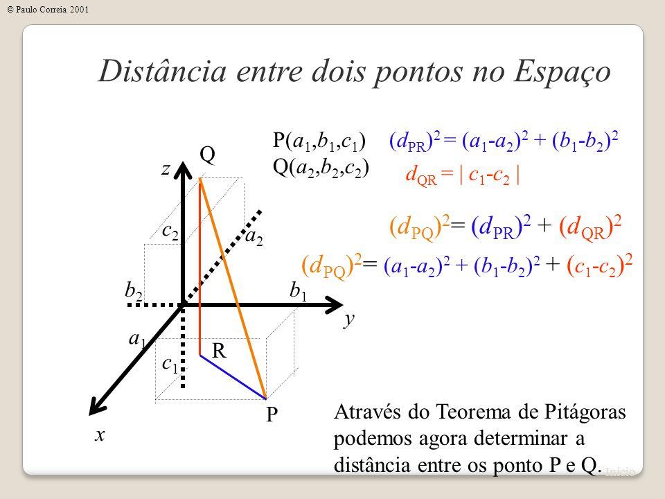 x Distância entre dois pontos no Espaço y z P(a 1,b 1,c 1 ) Q(a 2,b 2,c 2 ) P Q a1a1 b1b1 c1c1 a2a2 b2b2 c2c2 Através do Teorema de Pitágoras podemos