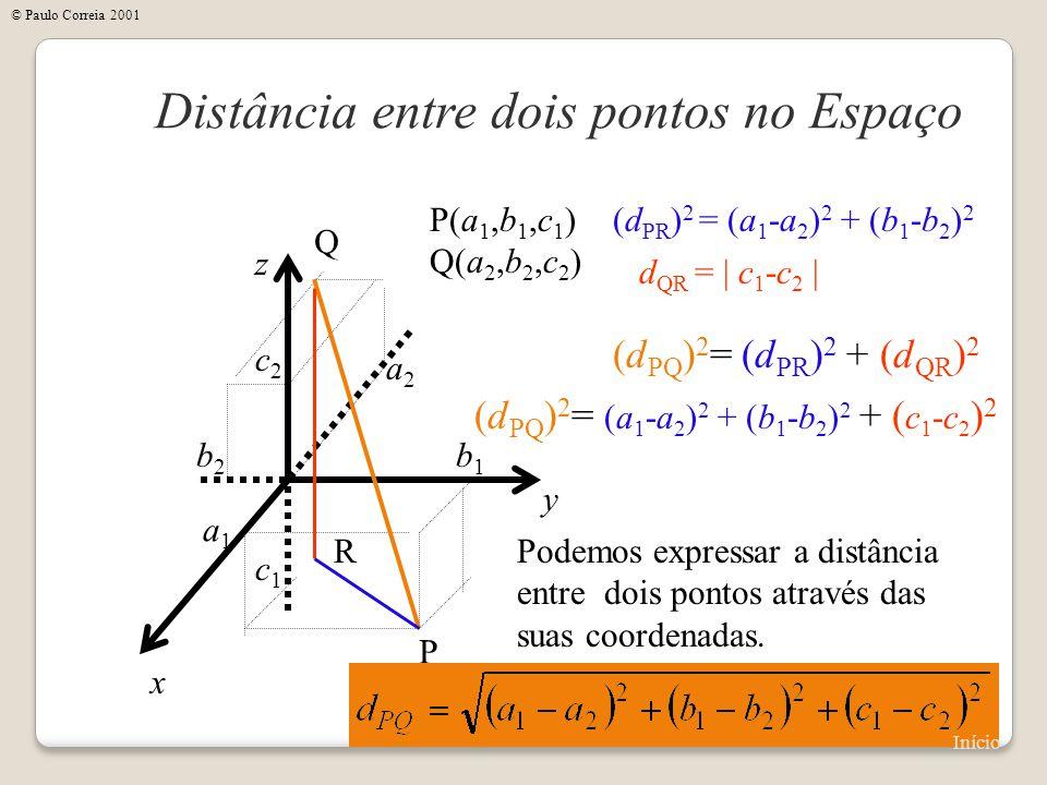 x Distância entre dois pontos no Espaço y z P(a 1,b 1,c 1 ) Q(a 2,b 2,c 2 ) P Q a1a1 b1b1 c1c1 a2a2 b2b2 c2c2 Podemos expressar a distância entre dois