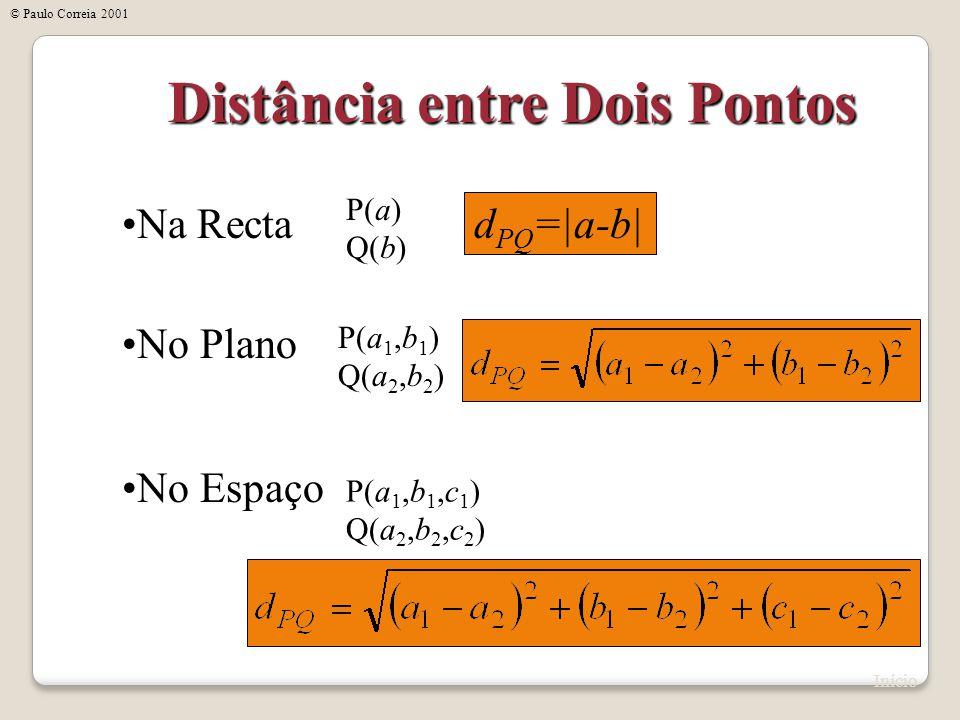 Distância entre Dois Pontos Na Recta No Plano No Espaço P(a) Q(b) d PQ =|a-b| P(a 1,b 1 ) Q(a 2,b 2 ) P(a 1,b 1,c 1 ) Q(a 2,b 2,c 2 ) Início © Paulo C