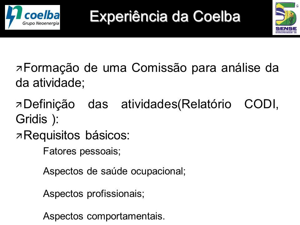 Experiência da Coelba ä Formação de uma Comissão para análise da da atividade; ä Requisitos básicos: Fatores pessoais; Aspectos de saúde ocupacional;