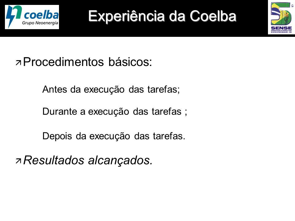 Experiência da Coelba Antes da execução das tarefas; Durante a execução das tarefas ; Depois da execução das tarefas. ä Procedimentos básicos: ä Resul