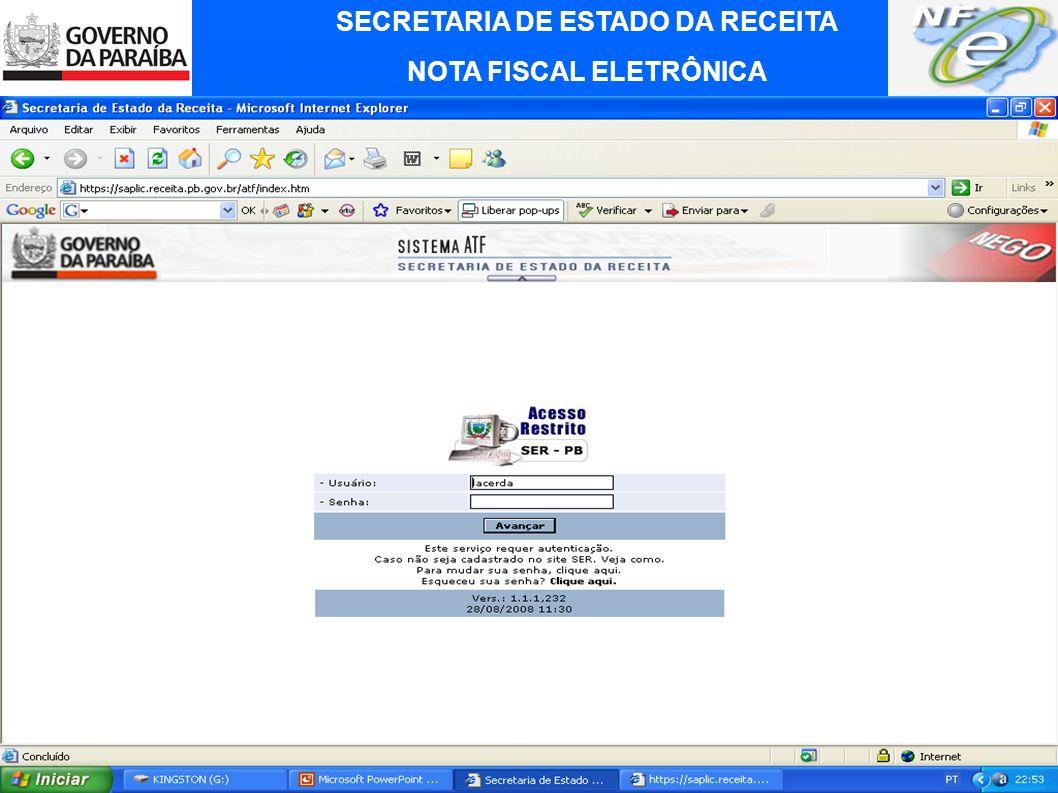 SECRETARIA DE ESTADO DA RECEITA NOTA FISCAL ELETRÔNICA