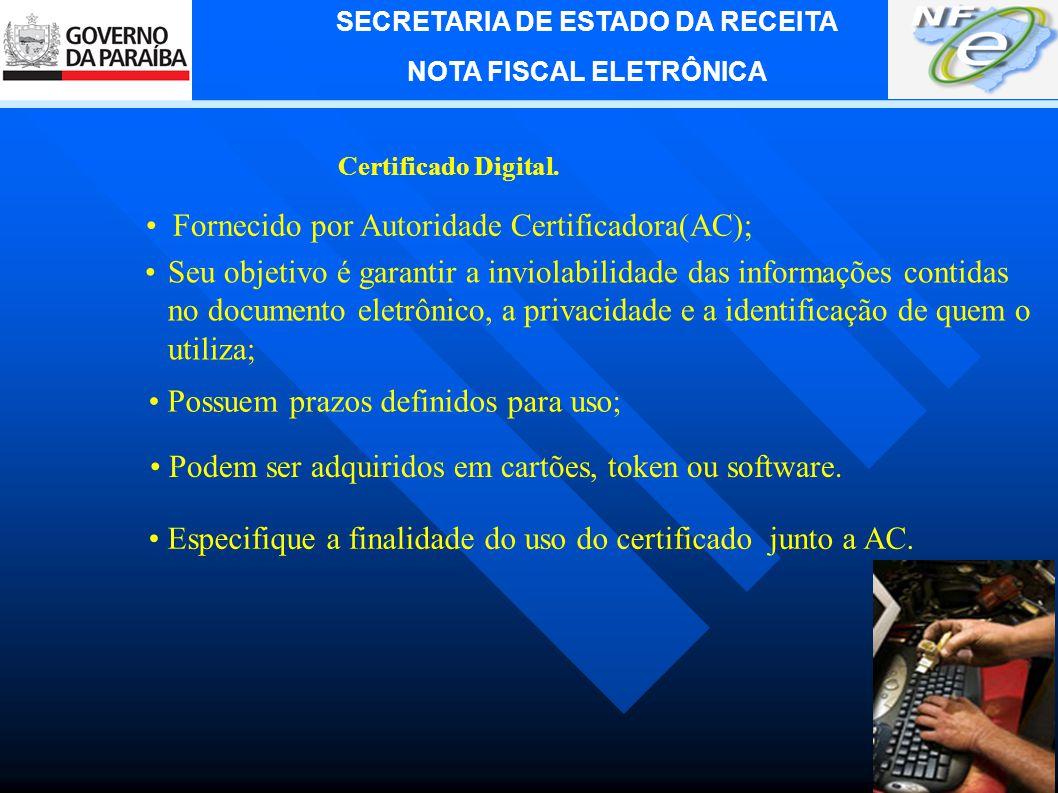 SECRETARIA DE ESTADO DA RECEITA NOTA FISCAL ELETRÔNICA 5.
