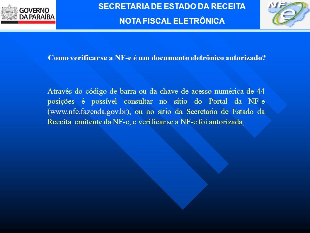 SECRETARIA DE ESTADO DA RECEITA NOTA FISCAL ELETRÔNICA http://www.nfe.fazenda.gov.br/portal/
