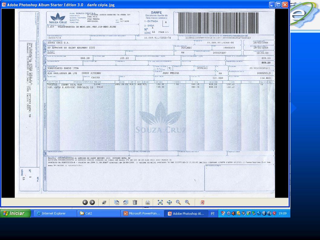 SECRETARIA DE ESTADO DA RECEITA NOTA FISCAL ELETRÔNICA Consulta de um DANFE Documento Auxiliar da NF-e (DANFE) 25090199171171102571550010000001406857800477