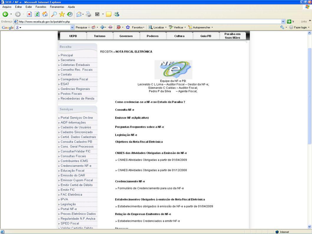SECRETARIA DE ESTADO DA RECEITA NOTA FISCAL ELETRÔNICA Portal da NF-e