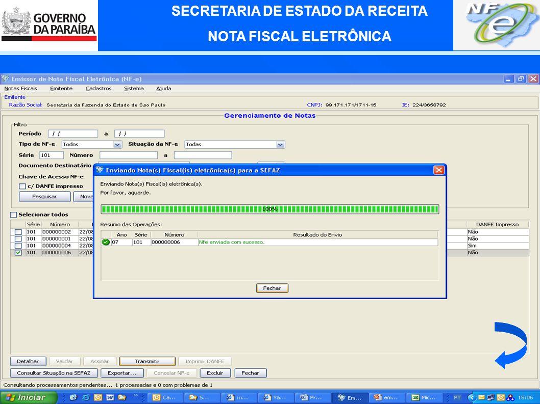 SECRETARIA DE ESTADO DA RECEITA NOTA FISCAL ELETRÔNICA Aplicativo emissor da NF-e