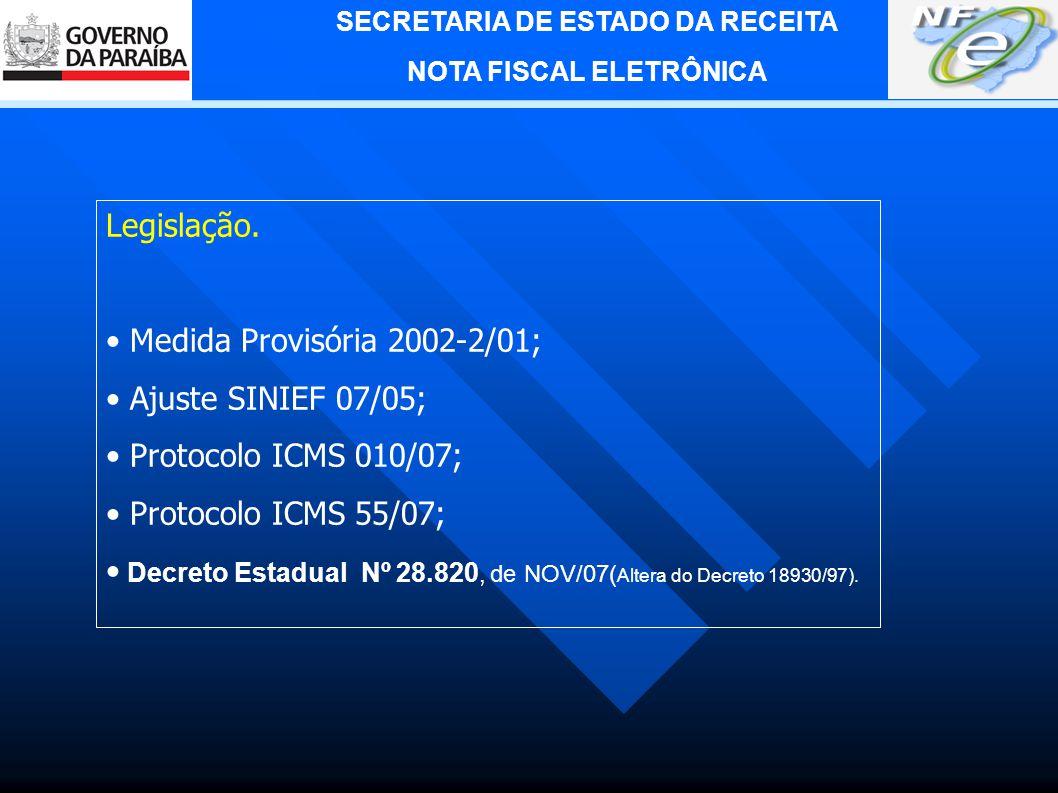 SECRETARIA DE ESTADO DA RECEITA NOTA FISCAL ELETRÔNICA Estados Autorizadores da NF-e: BA, DF, GO, MT, MG, PE, RS, RO, SP.