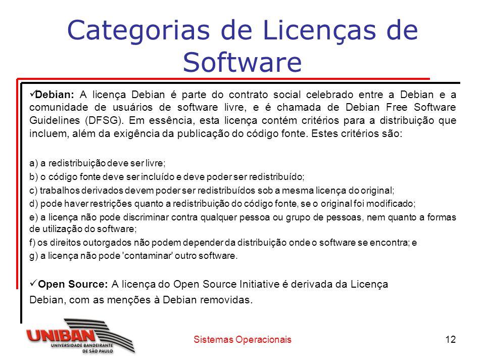 Sistemas Operacionais12 Categorias de Licenças de Software Debian: A licença Debian é parte do contrato social celebrado entre a Debian e a comunidade