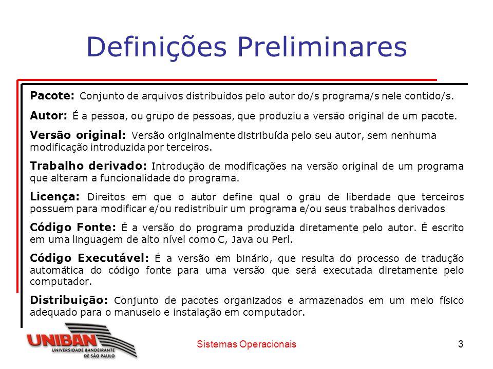 Sistemas Operacionais3 Definições Preliminares Pacote: Conjunto de arquivos distribuídos pelo autor do/s programa/s nele contido/s. Autor: É a pessoa,
