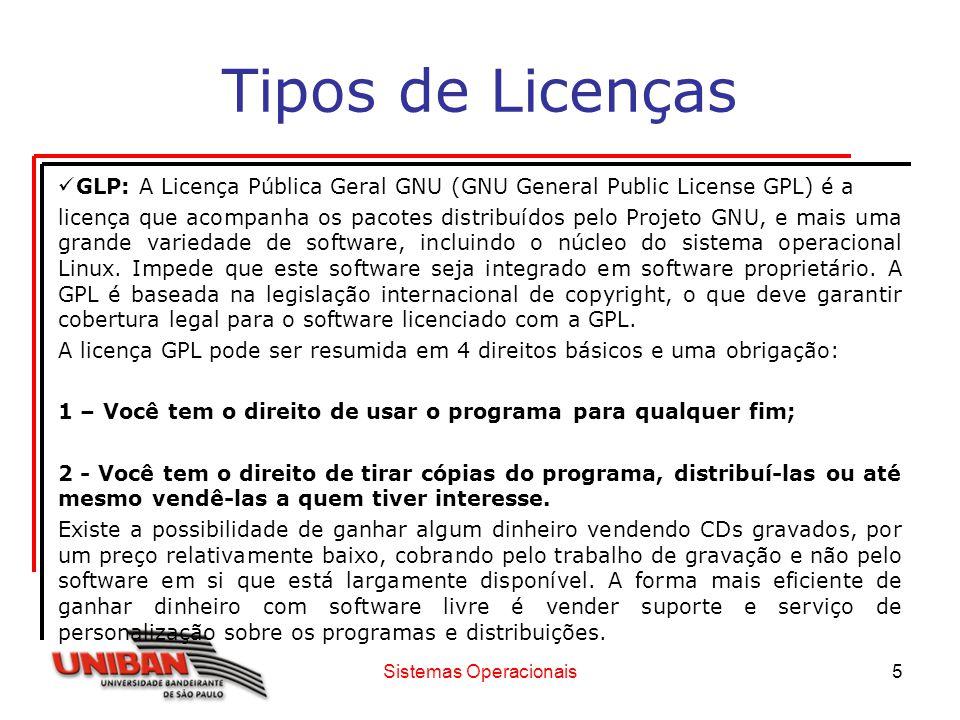 Sistemas Operacionais6 Tipos de Licenças 3– Direito de ter acesso ao código fonte do programa, fazer alterações e redistribuí-las.