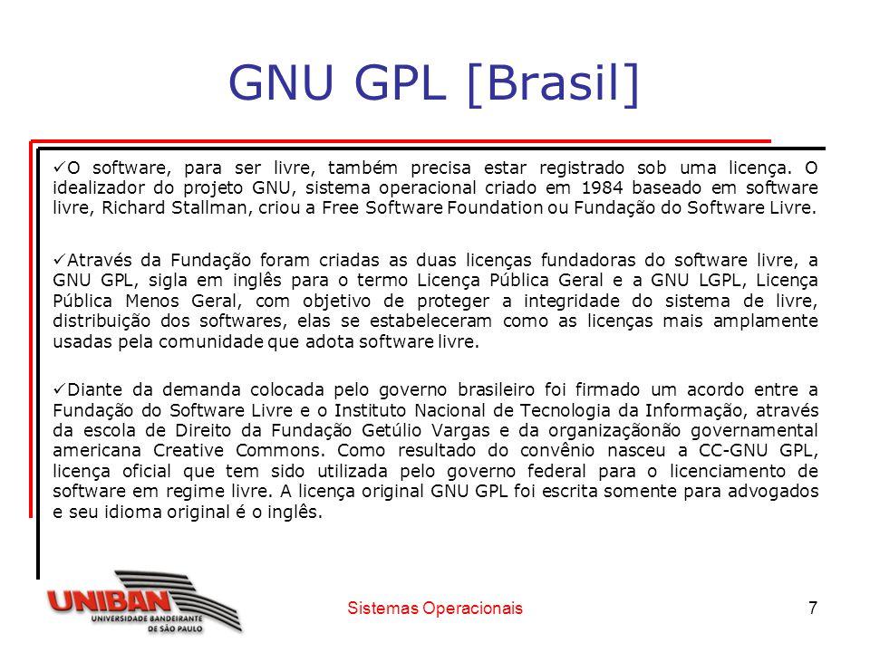 Sistemas Operacionais8 GNU GPL [Brasil] Através do projeto, pioneiro no mundo, foi possível fazer a tradução para o português do texto da licença americana e, em seguida, acrescentar duas outras camadas: uma para leigos e outra para máquinas.