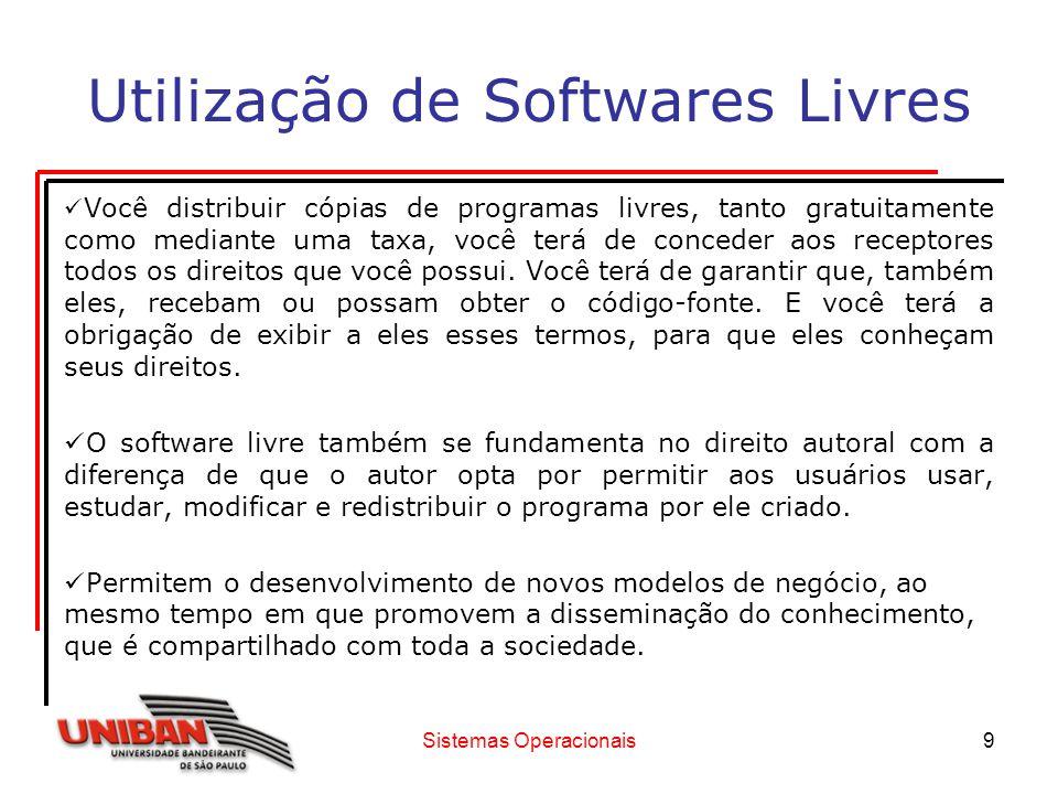 Sistemas Operacionais10 Utilização de Softwares Livres Vantagens: Custo social é baixo: O desenvolvimento de software proprietário é orientado para o benefício do fabricante enquanto que o do software livre é orientado para o benefício de seus usuários.