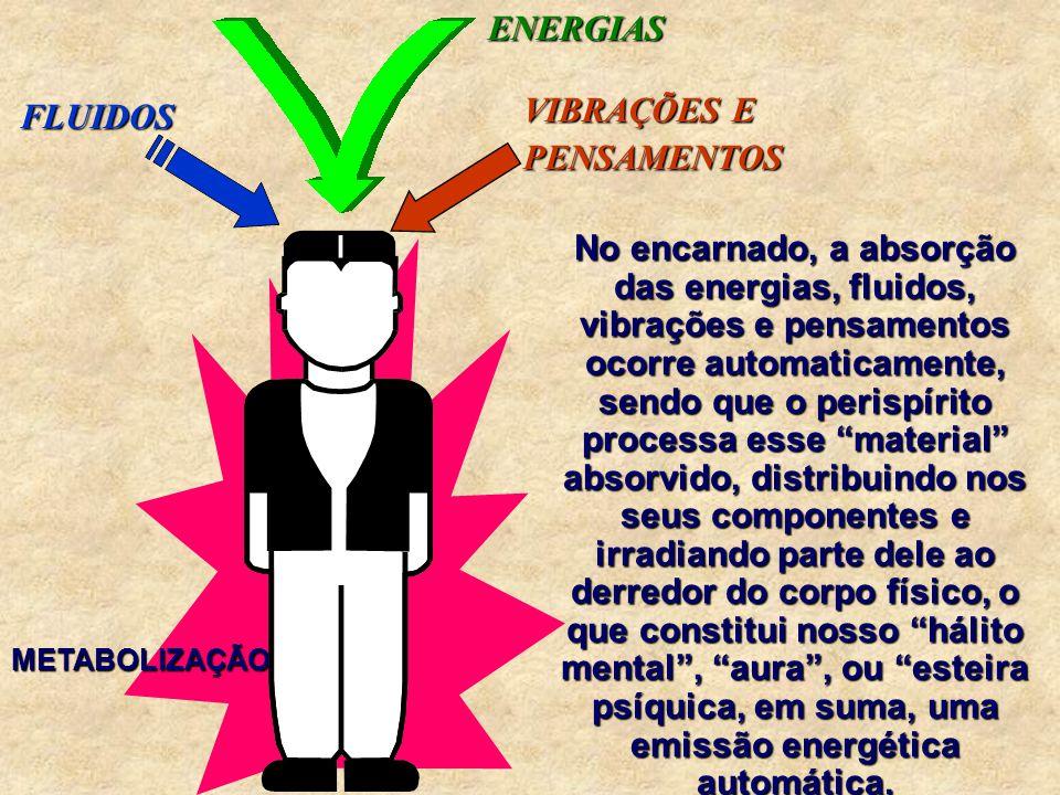 O ser encarnado assimila energias em estado bruto das mais diversas, de acordo com seu estado de maior ou menor equilíbrio, físico e espiritual.