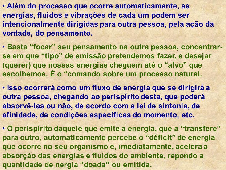 Metabolização Acelerada no Perispírito Transferência Energética Concentração, focagem Vontade, pensamento Absorção Acelerada de Fluidos e Energias MECANISMO GERAL DA IRRADIAÇÃO E DO PASSE