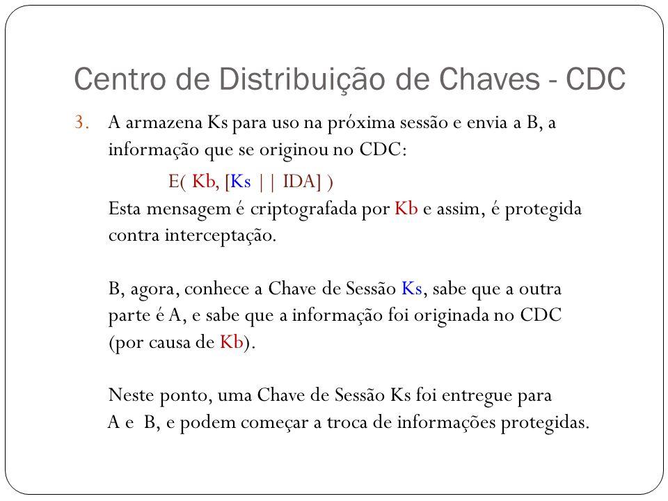 Centro de Distribuição de Chaves - CDC 3. A armazena Ks para uso na próxima sessão e envia a B, a informação que se originou no CDC: E( Kb, [Ks || IDA