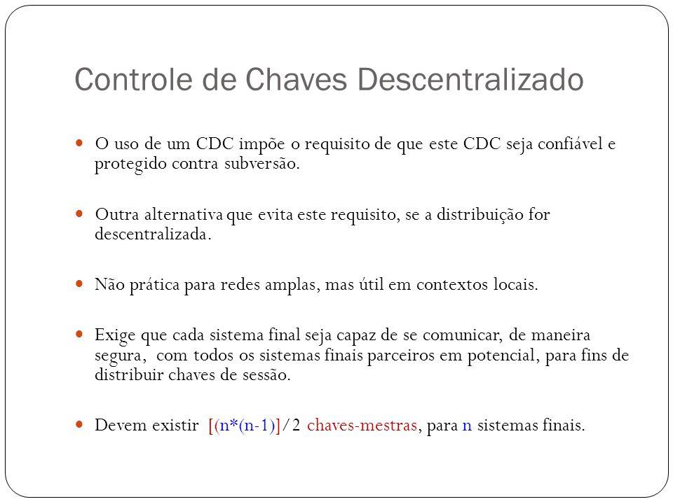 Controle de Chaves Descentralizado O uso de um CDC impõe o requisito de que este CDC seja confiável e protegido contra subversão. Outra alternativa qu