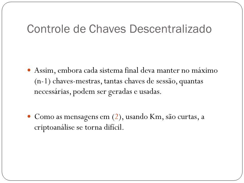 Controle de Chaves Descentralizado Assim, embora cada sistema final deva manter no máximo (n-1) chaves-mestras, tantas chaves de sessão, quantas neces