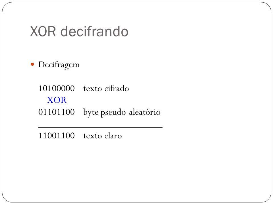 XOR decifrando Decifragem 10100000 texto cifrado XOR 01101100 byte pseudo-aleatório _________________________ 11001100 texto claro