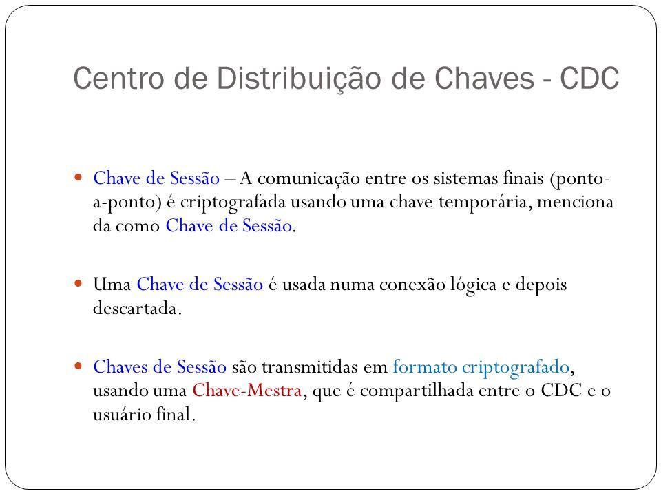 Centro de Distribuição de Chaves - CDC Chave de Sessão – A comunicação entre os sistemas finais (ponto- a-ponto) é criptografada usando uma chave temp