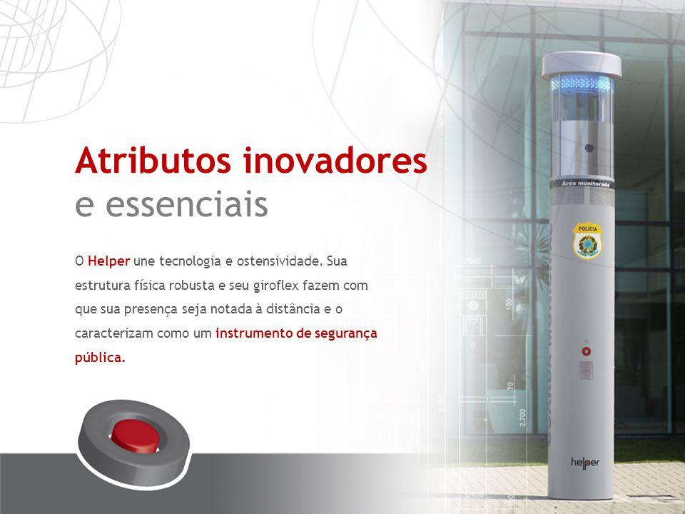 Botão de emergência Intercomunicador Câmeras 360º Para ser acionado pela população em casos de emergência, diminuindo o tempo de resposta a situações de risco.